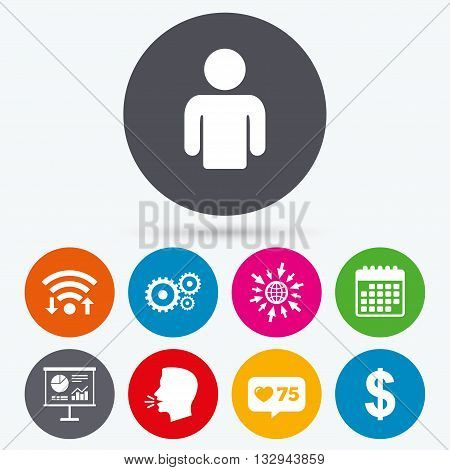 Wifi, like counter and calendar icons. Business icons. Human silhouette and presentation board with charts signs. Dollar currency and gear symbols. Human talk, go to web.
