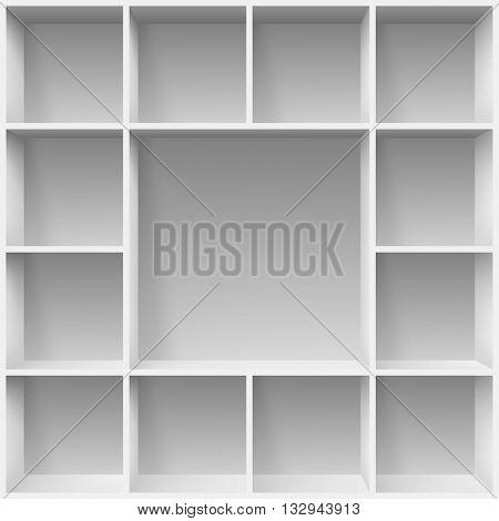 Gray bookshelves. Illustration for creative design template