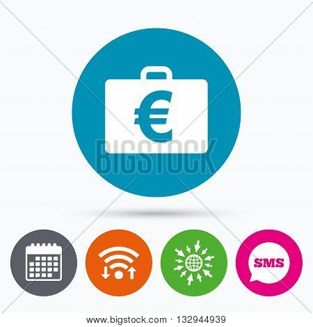 Wifi, Sms and calendar icons. Case with Euro EUR sign icon. Briefcase button. Go to web globe.