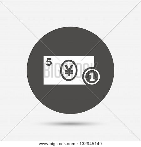 Cash sign icon. Yen Money symbol. JPY Coin and paper money. Gray circle button with icon. Vector