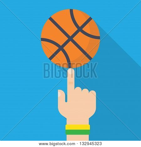 Athlete basketball player spinning the ball on his finger. Vector illustration, flat design style. Sports concept. Basketball ball in hand
