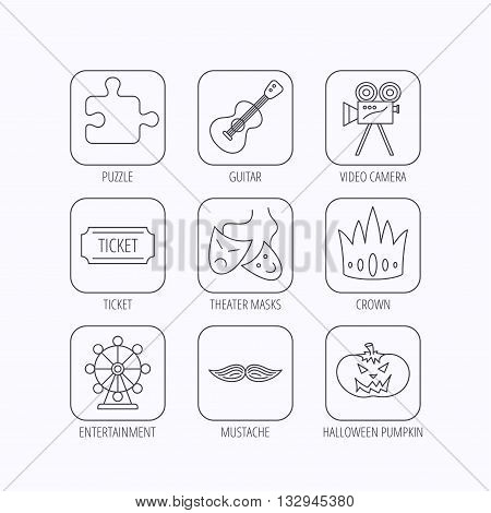 Puzzle, guitar music and theater masks icons. Ticket, video camera and crown linear signs. Entertainment, halloween pumpkin and mustache icons. Flat linear icons in squares on white background. Vector