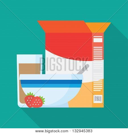 Breakfast icons flat set with cocoa corn flakes isolated vector illustration