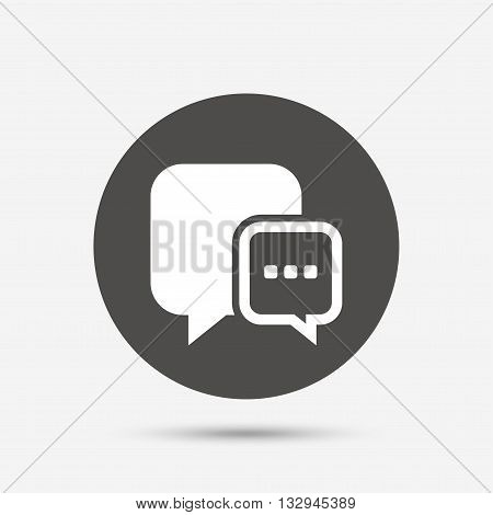 Chat sign icon. Speech bubble with three dots symbol. Communication chat bubble. Gray circle button with icon. Vector