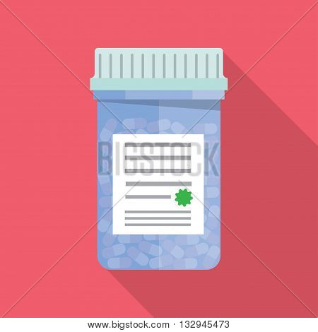 Modern pill bottle for pills or capsules. Isolated icon  with long shadow. Flat style vector illustration.