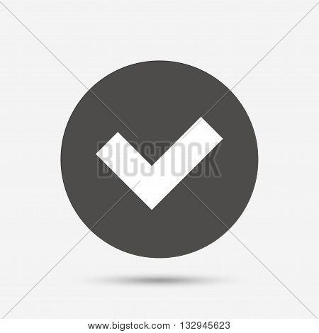 Check sign icon. Yes button. Gray circle button with icon. Vector
