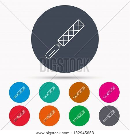 File tool icon. Carpenter equipment sign. Icons in colour circle buttons. Vector