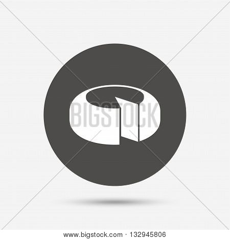Cheese wheel sign icon. Sliced cheese symbol. Round cheese. Gray circle button with icon. Vector