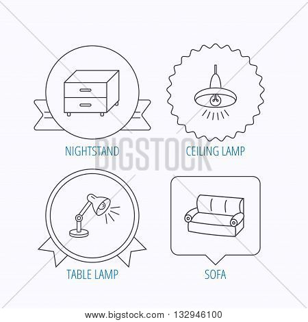 Sofa, table lamp and nightstand icons. Ceiling lamp linear sign. Award medal, star label and speech bubble designs. Vector