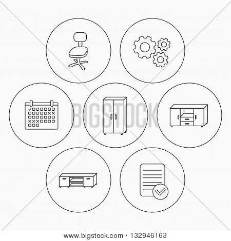 Cupboard, TV table and office chair icons. Chest of drawers linear sign. Check file, calendar and cogwheel icons. Vector