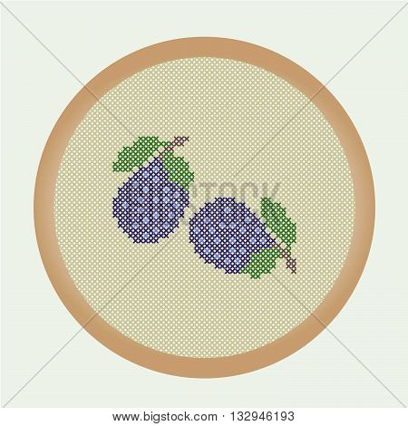 Two embroidery plums from a series of the Embroidered fruits. Vector illustration: the plums that are cross stitched in a round frame