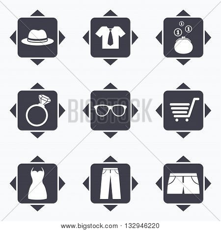 Icons with direction arrows. Clothes, accessories icons. Shirt, glasses and hat signs. Wallet with cash coins symbols. Square buttons.