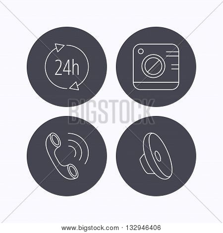 Phone call, 24h service and sound icons. Photo camera linear sign. Flat icons in circle buttons on white background. Vector