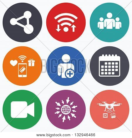 Wifi, mobile payments and drones icons. Group of people and share icons. Add user and video camera symbols. Communication signs. Calendar symbol.