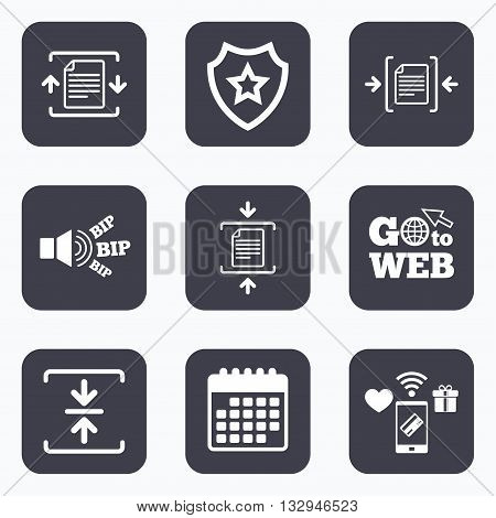 Mobile payments, wifi and calendar icons. Archive file icons. Compressed zipped document signs. Data compression symbols. Go to web symbol.