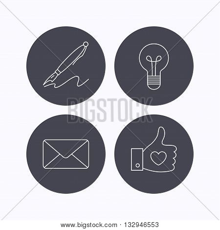 Mail, heart and lightbulb icons. Pen linear sign. Flat icons in circle buttons on white background. Vector