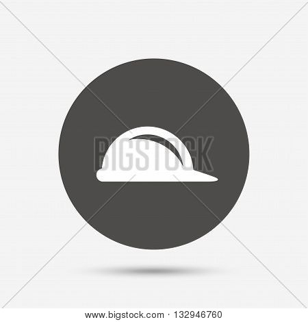 Hard hat sign icon. Construction helmet symbol. Gray circle button with icon. Vector