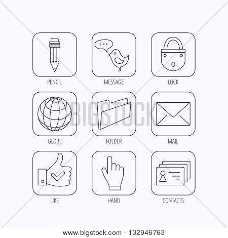 Pencil, press hand and world globe icons. Bird message, social network and mail linear signs. Contacts, like and folder icons. Flat linear icons in squares on white background. Vector