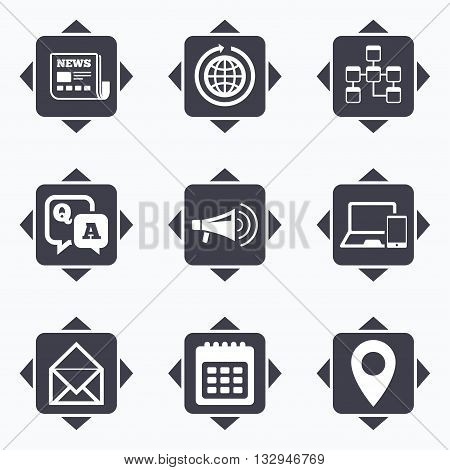 Icons with direction arrows. Communication icons. News, chat messages and calendar signs. E-mail, question and answer symbols. Square buttons.