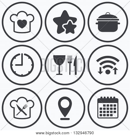 Clock, wifi and stars icons. Chief hat with heart and cooking pan icons. Crosswise fork and knife signs. Boil or stew food symbol. Calendar symbol.