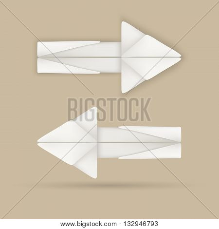 Origami arrows vector. Icon origami arrow. Origami vector. Creative arrows.