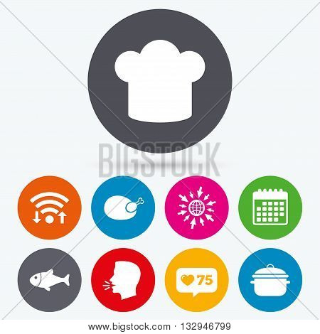 Wifi, like counter and calendar icons. Chief hat and cooking pan icons. Fish and chicken signs. Boil or stew food symbol. Human talk, go to web.