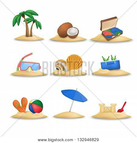 Beach icons set. Beach ball and beach slippers. Coconuts. Beach umbrella. Palm tree. Set of nine beach icons vector. Diving mask. Shells. Suitcase. Isolated on white background. Sandcastle.