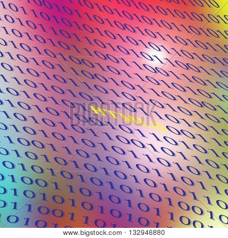 Abstract coloring deep sea gradients background with lens flare and gaussian blur effects,binary code numbers one and zero