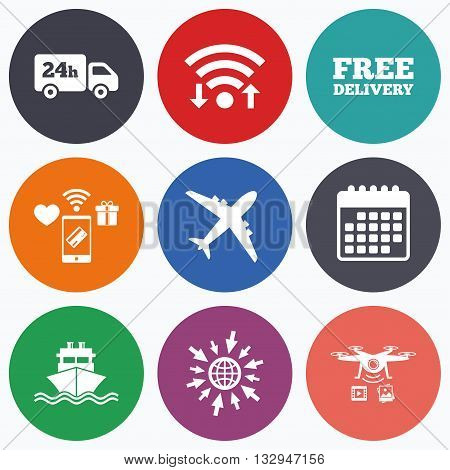 Wifi, mobile payments and drones icons. Cargo truck and shipping icons. Shipping and free delivery signs. Transport symbols. 24h service. Calendar symbol.
