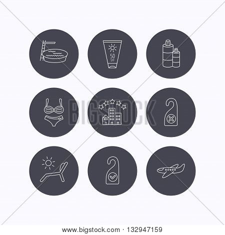 Hotel, swimming pool and beach deck chair icons. Sun cream, do not disturb and clean room linear signs. Shampoo and airplane icons. Flat icons in circle buttons on white background. Vector