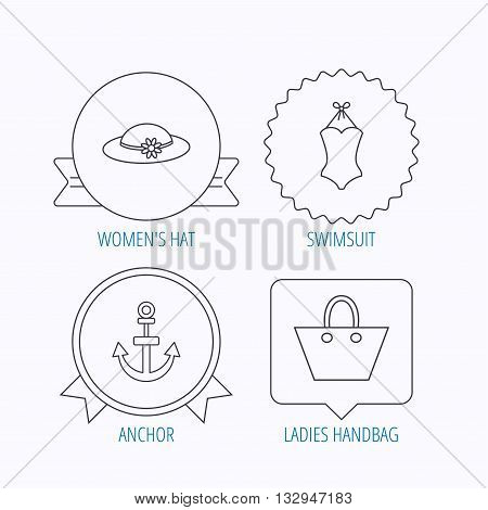 Anchor, ladies handbag and swimsuit icons. Swimsuit linear sign. Award medal, star label and speech bubble designs. Vector