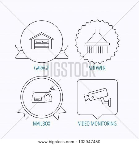 Mailbox, video monitoring and garage icons. Shower linear sign. Award medal, star label and speech bubble designs. Vector