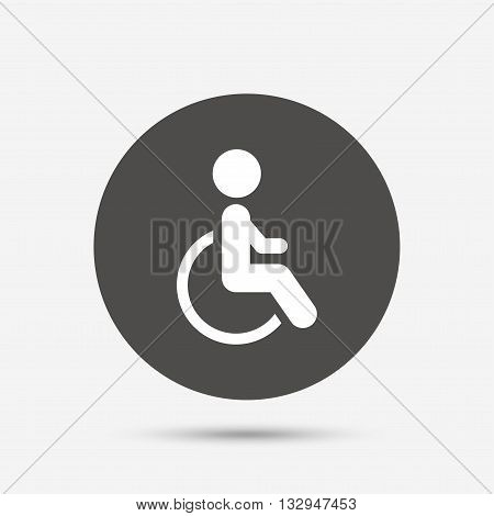 Disabled sign icon. Human on wheelchair symbol. Handicapped invalid sign. Gray circle button with icon. Vector