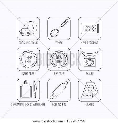 Kitchen scales, whisk and grater icons. Rolling pin, board and knife linear signs. Food and drink, BPA, DEHP free icons. Flat linear icons in squares on white background. Vector