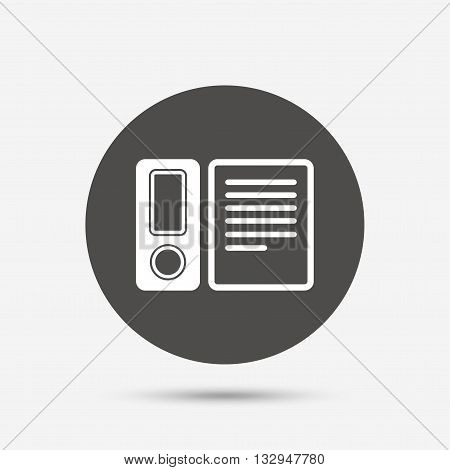Document folder sign. Accounting binder symbol. Bookkeeping management. Gray circle button with icon. Vector
