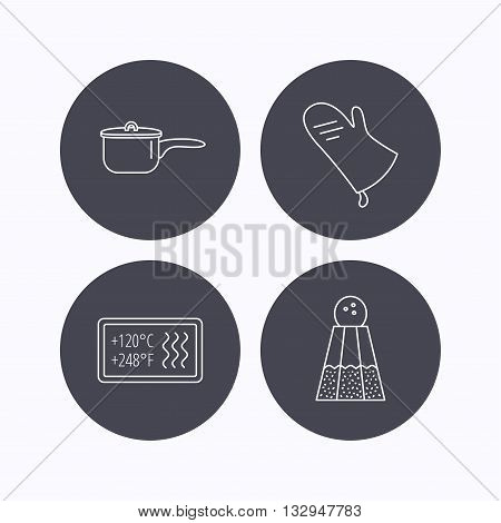 Saucepan, potholder and salt icons. Heat-resistant linear sign. Flat icons in circle buttons on white background. Vector