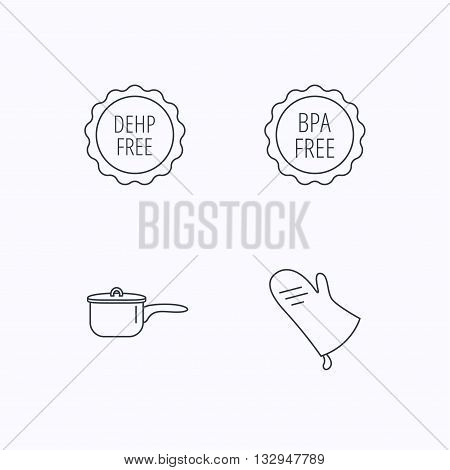 Saucepan, potholder and BPA free icons. DEHP free linear sign. Flat linear icons on white background. Vector