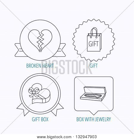 Broken heart, gift box and wedding jewelry icons. Box with jewelry linear sign. Award medal, star label and speech bubble designs. Vector