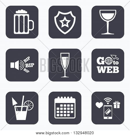 Mobile payments, wifi and calendar icons. Alcoholic drinks icons. Champagne sparkling wine and beer symbols. Wine glass and cocktail signs. Go to web symbol.