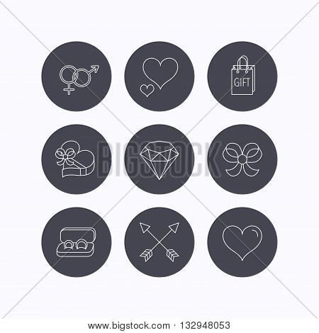 Love heart, gift box and wedding rings icons. Bow and engagement linear signs. Valentine amour arrows, brilliant flat line icons. Flat icons in circle buttons on white background. Vector