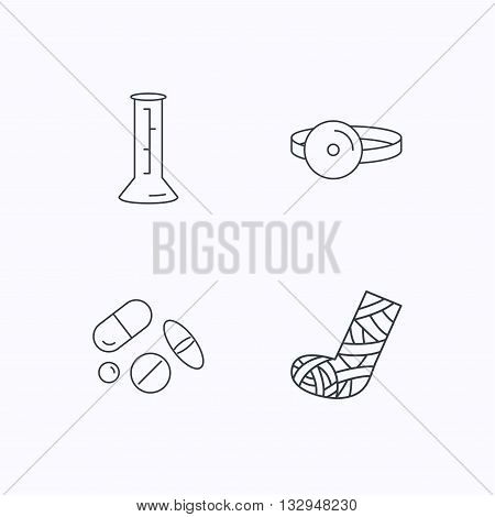 Gypsum, lab beaker and medical pills icons. Medical mirror linear sign. Flat linear icons on white background. Vector