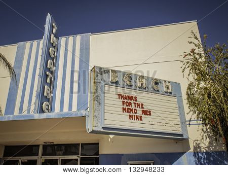 ST. PETE BEACH - MARCH 15, 2016: Once a thriving movie theatre in St. Pete Beach Florida, the Beach Theatre closed its doors in 2010.
