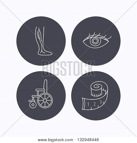 Vein varicose, wheelchair and weight loss icons. Eye linear sign. Flat icons in circle buttons on white background. Vector