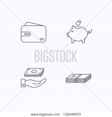 Piggy bank, cash money and wallet icons. Save money linear sign. Flat linear icons on white background. Vector