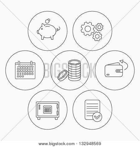 Piggy bank, cash money and wallet icons. Safe box, send money linear signs. Check file, calendar and cogwheel icons. Vector