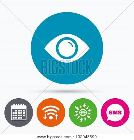 Wifi, Sms and calendar icons. Eye sign icon. Publish content button. Visibility. Go to web globe.