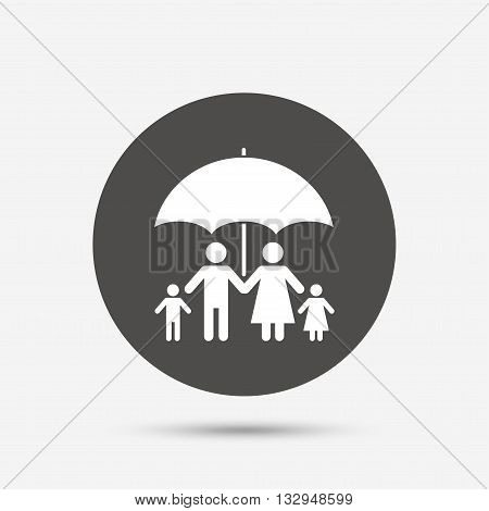 Complete family insurance sign icon. Umbrella symbol. Gray circle button with icon. Vector