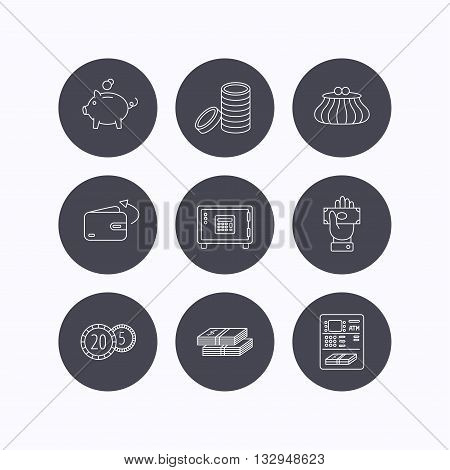 Piggy bank, cash money and wallet icons. Safe box, send money and dollar usd linear signs. Give money, coins and ATM icons. Flat icons in circle buttons on white background. Vector