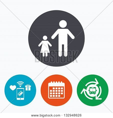 One-parent family with one child sign icon. Father with daughter symbol. Mobile payments, calendar and wifi icons. Bus shuttle.
