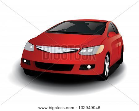 Vector sports red car front view, illustrator